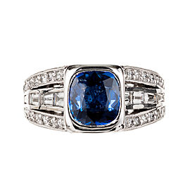 Peter Suchy Cushion Sapphire Ring Platinum Round Baguette Sapphire GIA Certified