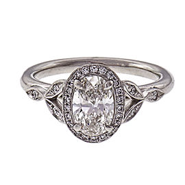 Peter Suchy Oval Diamond Halo Engagement Ring Platinum GIA Certified