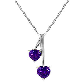 1.4 CTW Silver Hearts Necklace Natural Amethyst