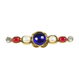 Chanel Gold Tone Multicolor Gripoix Stone Faux Pearl & Crystal Pin