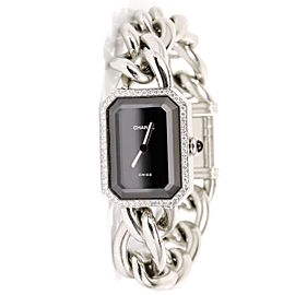 Chanel Premiere L Silver & Black Diamonds Bezel Womens Wristwatch