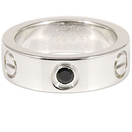 Cartier Love 18K White Gold Black Sapphire Ring 4.75