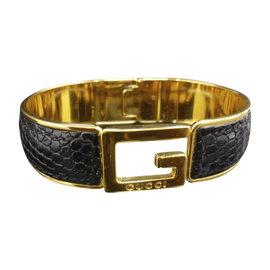 Gucci Lizard Leather and Gold-Tone Hardware G Logo Motif Bangle Bracelet