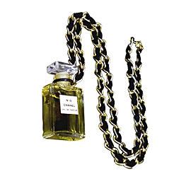 Chanel Gold Tone Metal Perfume No.19 Pendant Necklace