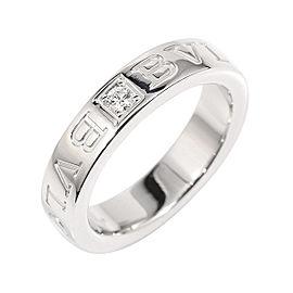 Bulgari 18K White Gold & Diamond Double Logo Ring Size 4.25