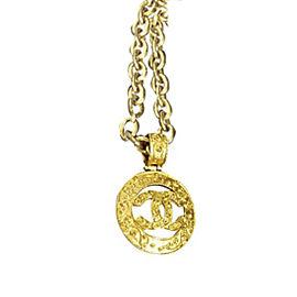 Chanel Coco Mark Gold Tone Metal Pendant Necklace