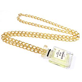 Chanel Gold Tone Perfume No.19 Pendant Chain Necklace