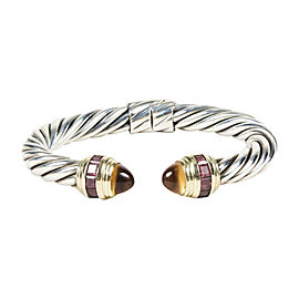 "David Yurman 925 Sterling Silver and 14K Yellow Gold with Citrine ""Renaissance"" Cable Bracelet"