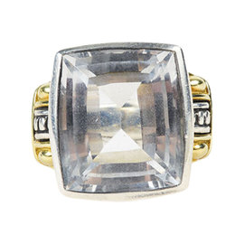 Lagos 18K Yellow Gold Sterling Silver White Topaz Cocktail Ring Size 6