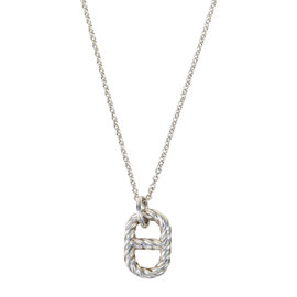 """Hermes 925 Sterling Silver Cabled Pendant Chain Link """"Parade"""" Necklace"""