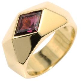 Hermes 18K Yellow Gold & Garnet Ring Size 6