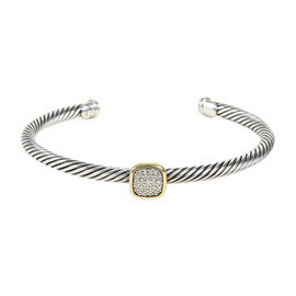 David Yurman Sterling Silver & 18K White Gold with .21ct Diamond Noblesse Bracelet