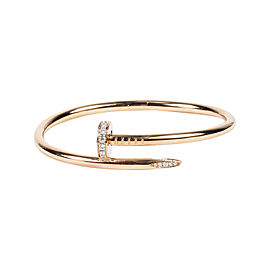 Cartier 18K Rose Gold & 0.59ct Diamond Juste Un Clou Bangle Bracelet