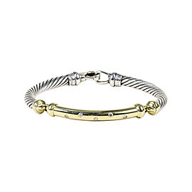 David Yurman Metro 925 Sterling Silver & 14K Yellow Gold with Diamond Bracelet