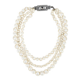 Lanvin Silver Tone Hardware Cream Ribbon Faux Pearl Crystal Multi Strand Necklace
