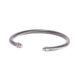 David Yurman 925 Sterling Silver Pearl Cable Classics Bracelet