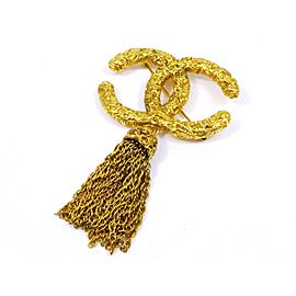 Chanel Gold Tone Hardware Coco Mark CC Logo Vintage Fringe Pin Brooch