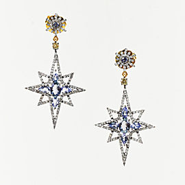 Rare Gems of India 925 Sterling Silver 18K Yellow Gold Tanzanite 1.18ctw Diamond Starburst Earrings