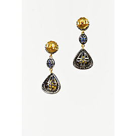 Rare Gems of India 925 Sterling Silver 18K Gold Sapphire 1.71ctw Diamond Drop Earrings