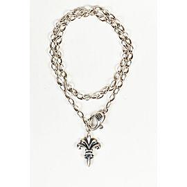 Elf Craft 925 Sterling Silver Fleur-de-Lis Double Wrap Chain Necklace
