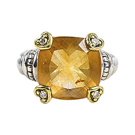 Judith Ripka Sterling Silver & 18K Yellow Gold Canary Crystal & White Sapphire Ring Size 6