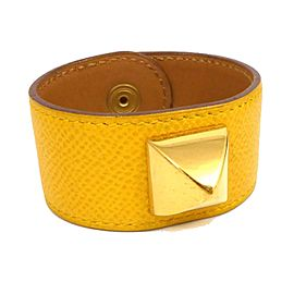 Hermes Medor Leather & Gold Tone Hardware Thick Bangle Bracelet