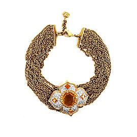 Valentino Resin with Orange & White Crystal Multi Strand Choker Necklace