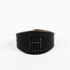 Hermes Black Swift Leather & Silver Tone Hardware Evelyne Cuff Bracelet