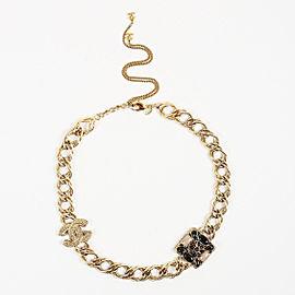 Chanel Gold Tone Multicolor Gripoix CC Collar Necklace