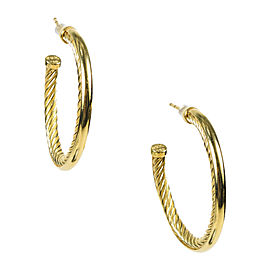 "David Yurman 18K Yellow Gold ""Crossover"" Hoop Earrings"