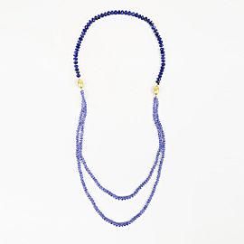 Arman Sarkisyan 22K Yellow Gold with Lapis Lazuli and Tanzanite Asymmetric Necklace