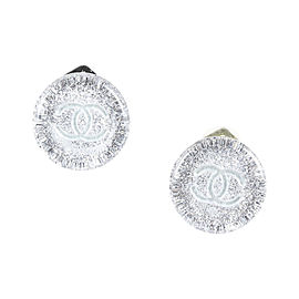 Chanel Silver Tone Metal & Resin Clip On Earrings