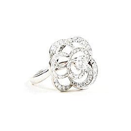 Chanel Camelia 18K White Gold Diamond Ring Size 6