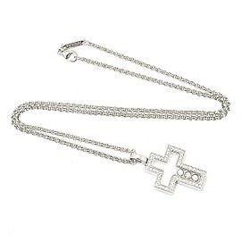 Chopard Happy Diamonds 18K White Gold Diamond Cross Pendant Necklace