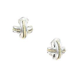 Tiffany & Co. 925 Sterling Silver 18K Yellow Gold Cross Weave Earrings