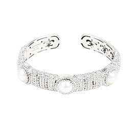Judith Ripka Sterling Silver Mabe Cultured Pearl and Cubic Zirconia Cuff Bracelet