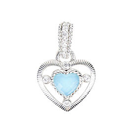 Judith Ripka Sterling Silver & Cubic Zirconia Turquoise Heart Pendant
