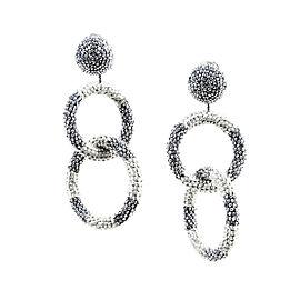 Oscar De La Renta Silver Tone Beaded Double Ring Clip On Earrings