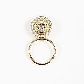 Versace Gold Tone Metal Rhinestone Medusa Ring Size 9