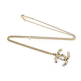 Chanel Gold Tone Rhinestone CC Pendant Necklace
