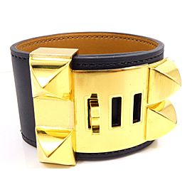 Hermes Medor Collier de Chien Leather & Gold Tone Hardware Bangle Bracelet