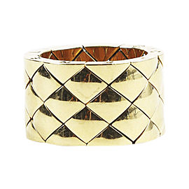 Chanel 18K Yellow Gold Quilted Ring Size 7.5