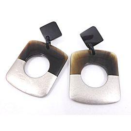 Hermes Silver Tone Hardware & Buffalo Horn Pierced Earrings