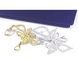 Swarovski Gold & Silver Tone Hardware with Crystals Swan Pin Brooch