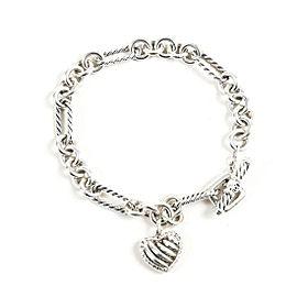David Yurman Cable Sterling Silver Diamond Charm Bracelet