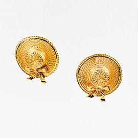 Chanel Gold Tone Vintage Straw Hat Earrings