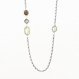 "David Yurman ""Chatelaine"" 925 Sterling Silver with Multi Stone Cognac Necklace"