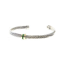 David Yurman Cable Classics Sterling Silver 14K Yellow Gold Emerald Bracelet