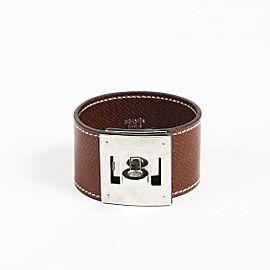"""Hermes Palladium Plated Hardware with Leather """"Kelly Dog"""" Bracelet"""