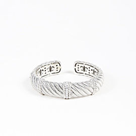 Judith Ripka Sterling Silver and Stainless Steel with Cubic Zircon Cuff Bracelet